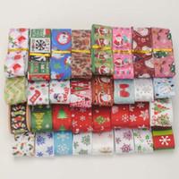 Wholesale christmas ribbon 25mm - 10yards random set 22 25mm Merry Christmas pattern printed grosgrain ribbons DIY handmade