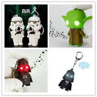 Wholesale Star Wholesale Led - YODA Black Star wars LED Keyrings luminous Dark Warrior LED Star Wars Darth Vader Keychains with Sound Light Lamp Flashlight Keychain