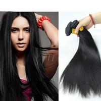 bella insan saçı düz toptan satış-8A Işlenmemiş 14 Inç Insan Saçı Brezilyalı Düz Dikmek Yumuşak ve Kalın Bakire Saç Uzantıları 100g Bella Remy İnsan Saç Dokuma Paketler