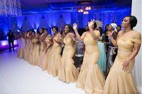 Wholesale One Shoulder Bridesmaid Dresses Tulle - 2016 New Champagne Bridesmaid Dresses Mermaid One Shoulder Pleats Long Bridesmaid Dresses Cheap High Quality Plus Size Formal Gowns