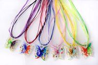 butterfly necklaces großhandel-großhandel 6 stücke handmade mix farbe italienisch venezianischen transparent schmetterling blume lampwork murano glas anhänger 3 + 1 seide halsketten nl0180m * 6