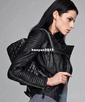 Wholesale Biker Women Leather Top - Facotry Women Jacket Real Sheepskin Genuine Leather TOP Brand Slim Short Black Bomber Biker Motorcycle Female Winter Coat ZH049A
