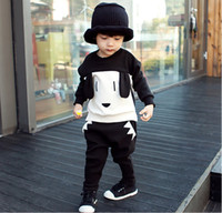 Wholesale Dog Clothes Trousers - Boys autumn clothing sets Cute Dog style baby tracksuits sport Sets Children's sets Clothes 100%cotton sweatshirts +trousers 2 pcs 5s l