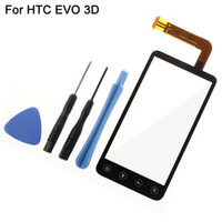 Wholesale Evo 3d Touch Screen - Wholesale-Replacement Front Glass With Digitizer For HTC EVO 3D G17 Touch Screen Sensor Black Color With Opening Tools High Quality