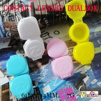 Wholesale Plastic Lens Cap - FREE SHIPPING CB0103 japanese style press cap easy contact lens case candy color plastic small con box
