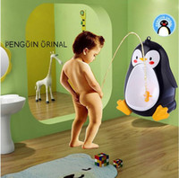 Wholesale urinal training - Baby Potty Toilet Potties Cute Penguin Pot Wall-Mounted Urinals Portable Training Boy Kids Toilet Leakproof Children Potty Brush
