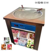Wholesale Cream Maker Machine - smart Thai fried ice cream roll machine single 50 cm pan fry pan ice cream rolled juice yoghourt maker 110v 220v