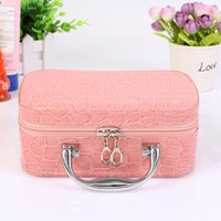 Wholesale Red Suitcase - Hot 2017 Small Mini Alligator Cosmetic Cases Cute Flower Lady Makeup Bag Women Jewelry Display Case Suitcase Crocodile Tote