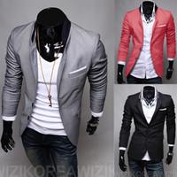 Wholesale stylish blazers fashion resale online - New Fashion Mens Casual Clothes Slim Fit Stylish Suit Blazer Coats Jackets Size M XL