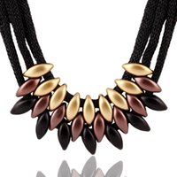 Wholesale Weave Fabric Necklace - Fashion Jewelry Statement Necklace Geometric Woven Maxi Necklaces Acrylic Fabric Trendy Collares For Women Colar Feminino PT33