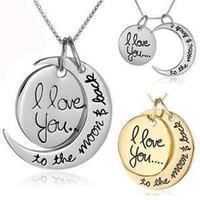 collar de luna de moda al por mayor-Collar de moda Collar de luna Te amo a la luna y vuelta para mamá Hermana Familia Colgante cadena de enlace