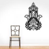 Wholesale Headboard Designs - Hand Of Fatima Wall Decals Yoga Indian Buddha Wall Stickers Home Decor Bedroom Headboard Decorating Murals