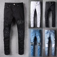 Wholesale Modern Men Fashion - 2018 new arrival fashion design men ripped amiri jeans famous brand biker jeans men top quality big size straight fit