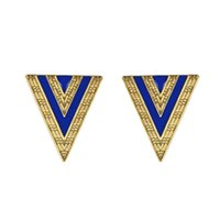 Wholesale Triangle Dangle Earrings Fashion - Fashion deisgn geometry gold color alloy enamel alloy triangle stud earrings for women