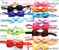 Wholesale rubber chemicals online - 100pcs baby inch hair bow with mini Thin Elastic headbands girl hair accessorie bow flower hair band slender rubber hair ties PJ5283