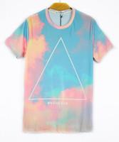 Wholesale Tee Shirt Triangle Galaxy - 2014 fashion women men triangle 3d t shirts print slim t-shirt cotton short-sleeve space galaxy tees tops free shipping