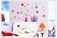 Wholesale Princess Castle Sticker Paper - Free shipping Cartoon Princess Castle Children room for girls bedroom wall stickers PVC environmental protection stickers 7028