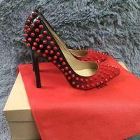 ingrosso vestito formato eu-Moda rosso Bottom Shoes Nuovo arrivo Tacchi alti Vestito partito Scarpe Super Stiletto Tacco alto Rivetti Pompe taglia EU 34-45 8cm 10cm 12 cm