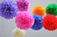 Wholesale Tissue Paper Flower Party Decorations - 100pcs Wedding Decoration Mariage Artificial Flowers Supplies Tissue Paper Pom Poms Party Festival Paper Flowers 5 Sizes Mixed