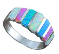 Wholesale fire horn - Wholesale- HAIMIS Free Gift Box Hot Sale Blue White Pink Fire Opal For Women Fashion Prong Setting Blue Opal Rings Size 6 7 8 9 OR837