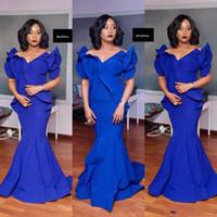 robes de soirée sud-africaines achat en gros de-MNM couture bleu royal sirène robes de bal Plus la taille sud-africain satin pas cher robes de soirée étage longueur robe de soirée formelle