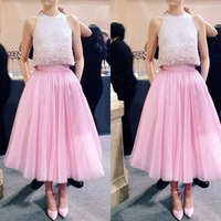 Wholesale Tea Length Underskirt - 2015 Pink Lovely Skirts Tea Length Prom Party Petticoat Chiffon A-line Underskirt Pleats Women Girls Clothing