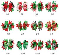 Wholesale X Mas Baby - 12 designs Christmas baby girls hair clips ribbon bow hairpins X-mas zebra striped dots snow flowers children kids barrettes