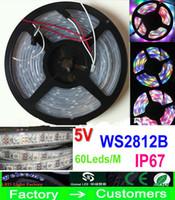 Wholesale Led Rgb Strip Addressable - 5M 5V 60Led M 300LEDs programmable WS2812B RGB 5050 LED strip Digital Individually addressable magic dream color Waterproof IP67