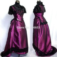 Wholesale Rococo Accessories - 2015 New Arrival ROCOCO Ball Grown Gothic Medieval Purple Victorian Dress Costume With Lace MD010