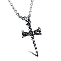 Wholesale Nails Designs White - Wholesale Fashion Nail Cross Personality Pendant Popular Titanium Steel Women Men Necklace Jewelry Classical Design Birthday Gift