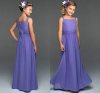 Wholesale Cheap Little Girls Bridesmaid Dresses - Cheap Junior bridesmaid dresses Off Shoulder A-Line Floor-Length With Little Beads Prom Party Gown Flower Grils Dresses Free Shipping