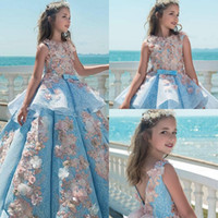 Wholesale Red Pearl Bow - 2017 Girls Pageant Dresses Sky Blue Lace Applique Pearls 3D Floral Tiered Sash Bow V Back Long Kids Flower Girls Dress Birthday Gowns