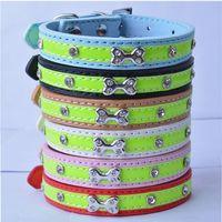 Wholesale Diamante Bone - 10pcs lot Brand New Reflective Dog Collar Pu Leather Studded Collar Bone Shaped Accessories Diamante Pet Dog Supplies