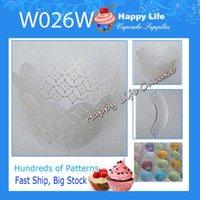 Wholesale Elegant Cupcake Wrappers - 24 pcs W026W White Elegant Design Great for Weddings,Cupcake Wrappers,Cake decorating,wholesale cupcake boxes!