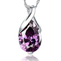 Wholesale 925 Silver Brazil - Fashion Party Jewelry Lady 925 Sterling Silver Drop-shaped Angel Tears Pendant natural Brazil Amethyst Crystal Necklace Pendant