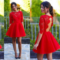Wholesale Cocktail Dress Blue Sleeve - Stunning Red Lace Cocktail Dresses Sexy Keyhole Open Back Short Party Dress Illusion Crew Neck Mini Prom Gowns with Half Sleeves Custom