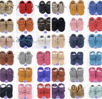 Wholesale Wholesale Cow Girl Boots - free fedex ship cow leather baby moccasins tassels boot booties moccs infant girl boy lace leather shoes prewalker booties toddlers shoes