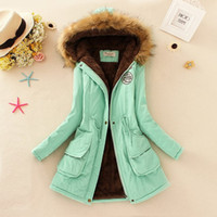 Wholesale fur collar parka - 11Colors Thickening Warm Fur Collar Jackets for Women New Women's Down Parka Plus Size Parka Womens Hoodies Parkas for Women Winter