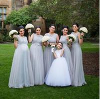 Wholesale Maternity Empire Waist Bridesmaid Dresses - 2016 New Gray Arabic Pregnant Bridesmaid Dresses Crew Neck Lace Beaded Top Empire Waist Long Maternity Plus Size Maid Of Honor Dresses