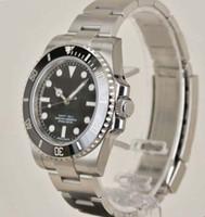 relógios de borracha venda por atacado-Luxo 40 MM Black Dial Aço Inoxidável Automático Mens Watch 114060 RELÓGIO DO HOMEM Relógio de pulso