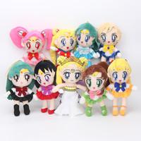seemann venus puppe großhandel-9 teile / los Sailor Moon Königin Serenity Chinbi Venus Jupiter Merkur Uranus Pluto Mars Plüschtier Stofftier Puppe