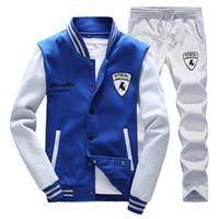 Wholesale jogging suits winter - Wholesale-Autumn winter tracksuit tenis baseball polo suit XS - 4XL men sweatshirt pants set Outdoor sport Hoodies joggers jogging 8594