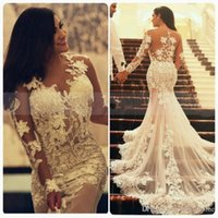 Wholesale Transparent Beach Dresses - 2016 Sexy Mermaid Lace Wedding Dress With Transparent Long Sleeves Crew Neck Appliques Sweep Train Vintage Arabic Bridal Party Gown