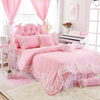 Wholesale Twin Pink Princess Bedding Duvet - 2018 Luxury cotton Lace Bedding sets Newest Princess bedding set Duvet cover Bed Skirts bedding gifts for girls and womens factory Outlet