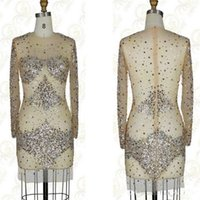 Wholesale Small Pageant Dresses - The new 2015 short dress small round neck long sleeve seam with crystal beaded dress style homecoming pageant