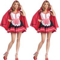 Wholesale Adults Princess Skirts - Halloween Cosplay Halloween Adult female models Little Red Riding Hood costume princess skirt suit studio shooting