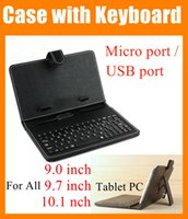 Wholesale Wholesale Keyboard Cases Ports - 2 in 1 Black Leather Case 9 9.7 10.1 inch cover for Tablet PC Micro   USB port Keyboard & Folding Leather cover For ipad 2 3 4 5 air PCC016