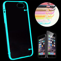 Wholesale Galaxy S3 Crystal Transparent - Glow in the Dark Clear transparent Crystal Soft TPU Noctilucent Frame Hard PC Cover Case for iPhone 4s 5s 6  6 plus Galaxy S3 S4 S5 note 3 4