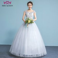 Wholesale Modern Chinese Wedding Dress - ISER QUEEN Sexy Backless V neck Simple Modern Wedding Dress Plus Size Sequin Crystal Beading Lace Elegant Chinese Cheap Wedding Gowns WX0035