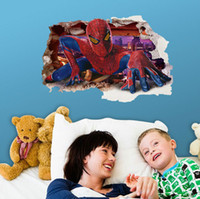 Wholesale Children Friendly Movies - Living Room Bedroom Cartoon Spider-Man 3D Wall Stickers Children Room Decoration Wallpapers Decals Eco-friendly House Sticker